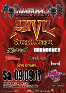 Iron Hammer Festival, Andernach, Germany, 9th September 2017, ANVIL, ABANDONED, STORM WARRIORS, SOBERTRUTH, A CHANCE FOR METAL FESTIVAL, heavy metal, prog groove metal, progressive groove metal, trash metal, power metal, UPCOMING ROCK AND METAL EVENTS AROUND THE WORLD September 2017, festivals, festival, concerts