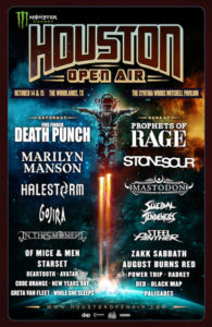 Houston Open Air - OTTOBRE 2017, Houston open Air festival, PROPHETS OF RAGE, STONE SOUR, MASTODON, SUICIDAL TENDENCIES, STEEL PANTHER, AUGUST BURNS RED, BLACK MAP, FIVE FINGER DEATH PUNCH, MARILYN MANSON, HALESTORM, GOJIRA, IN THIS MOMENT, OF MICE & MEN, WHILE SHE SLEEPS, CODE ORANGE, 14th-15th October 2017