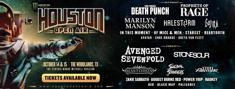 houston open air article preview, Houston Open Air - OTTOBRE 2017, Houston open Air festival, PROPHETS OF RAGE, STONE SOUR, MASTODON, SUICIDAL TENDENCIES, STEEL PANTHER, AUGUST BURNS RED, BLACK MAP, FIVE FINGER DEATH PUNCH, MARILYN MANSON, HALESTORM, GOJIRA, IN THIS MOMENT, OF MICE & MEN, WHILE SHE SLEEPS, CODE ORANGE, 14th-15th October 2017, sickandsound, Upcoming Rock and Metal events around the world, events, festivals