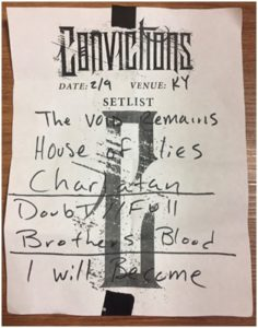 Convictions setlist, War of Ages, War of Ages band, War of Ages metalcore band, War of Ages live in Newport Kentucky February 9th, 2018, Facedown Records, Alpha, War of Ages Alpha album, War of Ages latest album, War of Ages tour 2018, War of Ages Convictions Earth Groans, Convictions, Earth Groans, War of Ages The Alpha Tour, Creator, Fullness, Buried Alive, Warpath, Hollow Point, Repentance, Mind Control, Immunity Revoked , Warrior, Cut Throat, Anthony Talanca, Junior Editor and Live Reporter, sickandsound, metalcore concert review, concert review, War of Ages The Alpha Tour review, War of Ages Newport Kentucky review, Christian metalcore, Leroy Hamp, Steve Brown, Jack Daniels, Kaleb Luebchow, Andy Cutrell, War of Ages, Pride of the Wicked, Fire from the Tomb, Arise and Conquer, Eternal, Return to Life, Supreme Chaos, Alpha