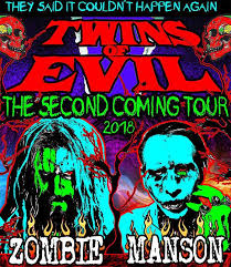 Twins Of Evil Tour 2018, The Electric Warlock Acid Witch Satanic Orgy Celebration Dispenser, Rob Zombie, Rob Zombie Marilyn Manson, Rob Zombie Marilyn Manson Twins Of Evil Tour, Twins Of Evil Tour 2018, Rob Zombie and Marilyn Manson on tour in 2018, Marilyn Manson, Brian Hugh Warner, Marilyn Manson new album, Rob Zombie latest album, Industrial metal, Alternative metal, Hard rock, Gothic rock, Gothic metal, sickandsound, Robert Bartleh Cummings, Twins of Evil: the second coming, Twins of Evil, Gerswin Reynolds, Tour Announcement: Twins of Evil Tour 2018: The Second Coming