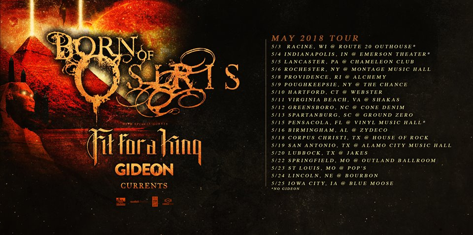 Born Of Osiris Currents Fit for A King Glass Hands live report, Born Of Osiris Tour, Born Of Osiris Fit for A King Currents Glass Hands, Currents live report May 4th 2018 Indianapolis Indiana, Born Of Osiris tour featuring Glass Hands Currents Fit For A King and Born Of Osiris, Anthony Talanca, post-hardcore, metalcore, djent, progressive metal, live reports, metalcore live report, sickandsound, Currents, Born Of Osiris, Sumerian Records, SharpTone Records, Fit For A King, Glass Hands, Currents band live, Born Of Osiris band live, Fit For A King band live, Born Of Osiris openinct acts Currents Fit For A King Glass Hands, currentsofficial, Brian Wille, Chris Wiseman, Dee Cronkite, Jeff Brown, Ryan Castaldi, Currents live at Emerson Theatre Indianapolis, Apnea, Tremor, Silence, Currents The Place I Feel Safest, Currents tour 2018, Fit For A King Shattered Glass, Stacking Bodies, Fit For A King tour 2018, Live report Currents + Glass Hands + Fit For A King + Born Of Osiris, concert review, metalcore concerts May 2018, deathcore